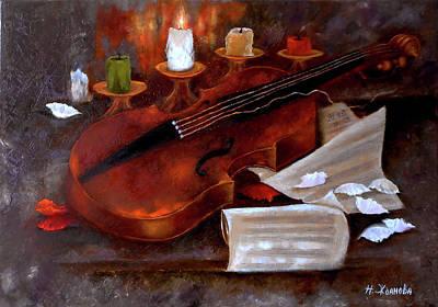Music Royalty-Free and Rights-Managed Images - Still life painting oil violin art music wall art by Natalya Zhdanova