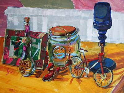 Painting - Still Life Painting - Picture Frame Jar And Bottle by Mike Jory