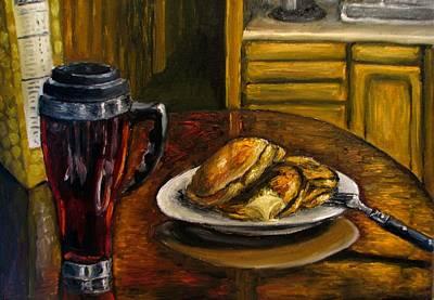 Still Life Pancakes And Coffee Painting Art Print by Natalja Picugina