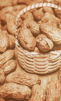 Still Life Peanuts In Small Wicker Basket On Table Art Print