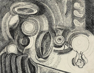Cubism Drawing - Still Life Portuguese by Robert Delaunay