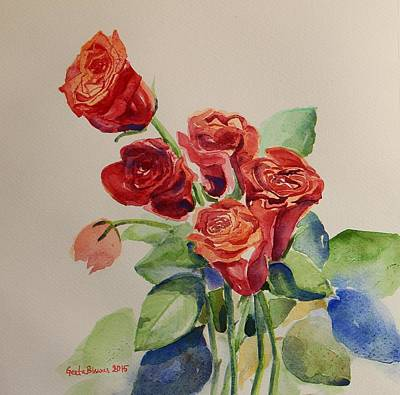 Painting - Still Life Red Roses by Geeta Biswas