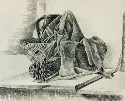 Wooden Bowls Drawing - Still Life Sketch By Ivailo Nikolov by Boyan Dimitrov