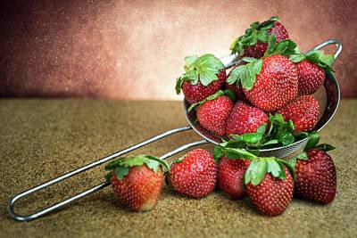 Diffuser Photograph - Still Life Strawberry Light Burst Background by Wisanu Boonrawd