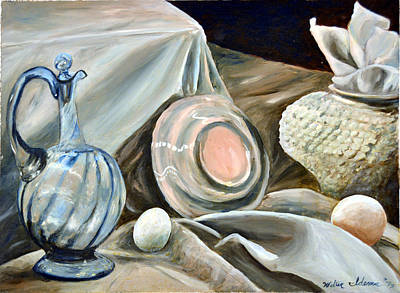 Glass Oil Dish Painting - Still Life Study In 2 Color by Walter Idema