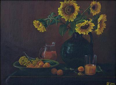 Water Jug Drawing - Still Life. Sunflowers In The Jug. by Elena Pavlova