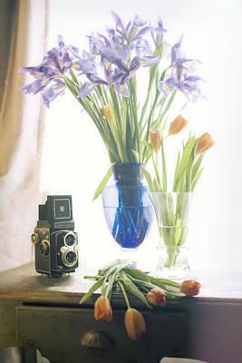Still Life - Tulips Irises And Camera Art Print by Jon Woodhams