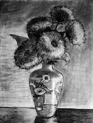 Still Life Drawings - Still Life - Van Gogh Ornamented Vase with 5 Teddy Bear Sunflowers by Jose A Gonzalez Jr