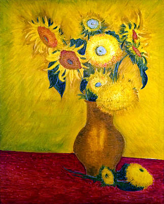 Still Life Drawings - Still Life - Vase with 10 Sunflowers by Jose A Gonzalez Jr