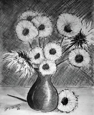 Still Life Drawings - Still Life - Vase with 11 Sunflowers by Jose A Gonzalez Jr