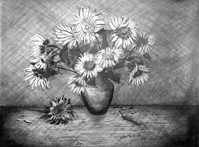 Still Life Drawings - Still Life - Vase with 13 Sunflowers by Jose A Gonzalez Jr