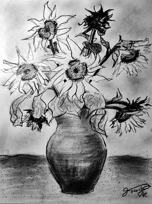 Still Life Drawings - Still Life - Vase with 8 Sunflowers by Jose A Gonzalez Jr