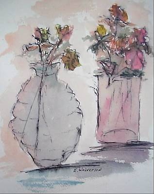 Still Life- Vase With Flowers Art Print by Edward Wolverton