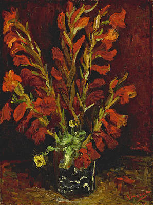 Still Life. Vase With Gladioli Art Print by Vincent van Gogh