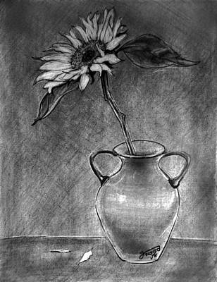 Still Life Drawings - Still Life - Vase with One Sunflower by Jose A Gonzalez Jr