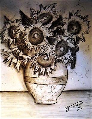 Still Life Drawings - Still Life - Vase with Seven Sunflowers by Jose A Gonzalez Jr
