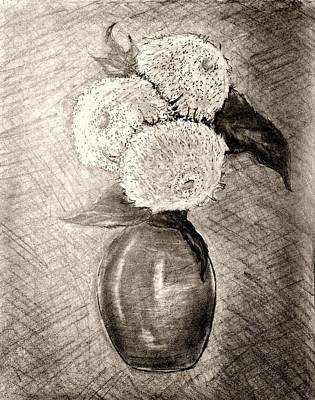 Still Life Drawings - Still Life - Vase with Three Teddy Bear Sunflowers by Jose A Gonzalez Jr