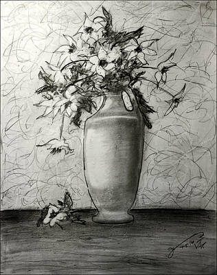 Still Life Drawings - Still Life - Vase with White Flowers by Jose A Gonzalez Jr