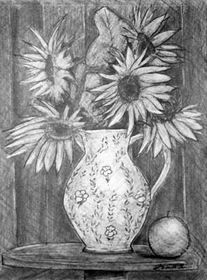Still Life - White Pitcher With 5 Sunflowers Print by Jose A Gonzalez Jr