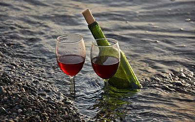Still Life Wine At The Beach Art Print