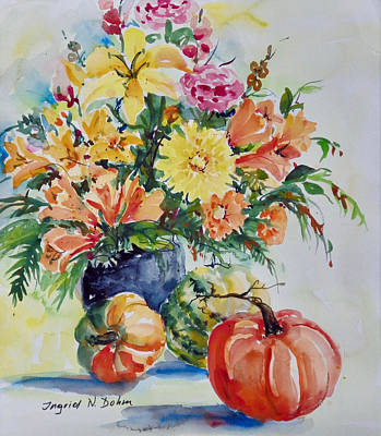 Painting - Still Life Wirh Pumpkins by Ingrid Dohm