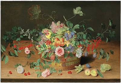 Still Life With A Basket Of Flowers And Fruit Art Print