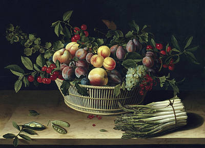 Dew Painting - Still Life With A Basket Of Fruit And A Bunch Of Asparagus by Louise Moillon