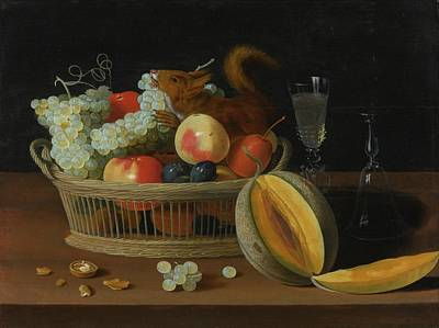Still Life With A Basket Of Fruit And A Squirrel Art Print