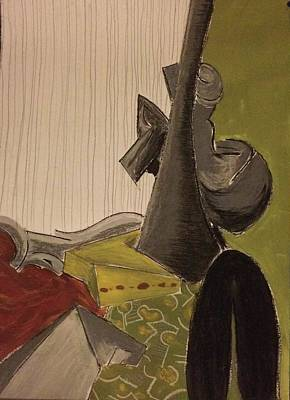 Pastel - Still Life With A Black Horse- Cubism by Manuela Constantin