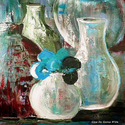Painting - Still Life With A Blue Flower by Gina De Gorna