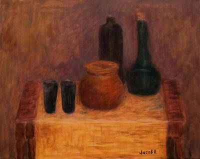 Still Life With Old Brown Bottle Painting - Still Life With A Bottles by Jacob R