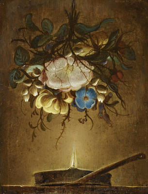 Painting - Still Life With A Bouquet Of Flowers Hanging Above A Candle by Evert van Aelst
