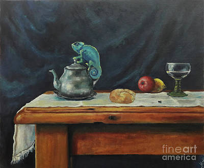 Painting - Still Life With A Chameleon by Maja Sokolowska