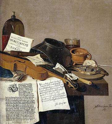 Painting - Still Life With A Copy Of De Waere Mercurius A Broadsheet With The News Of Tromps Victory Over Three by R Muirhead Art