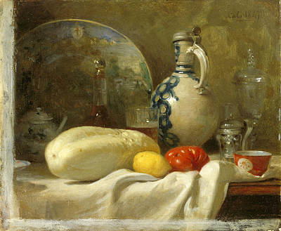 Painting - Still Life With A Cucumber And A Pitcher by Adolphe-Felix Cals