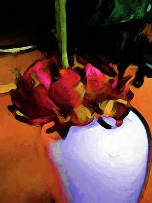 Digital Art - Still Life With A Dying Flower Of Red And Green by Jackie VanO