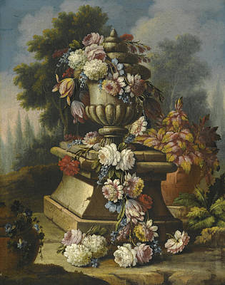 Still Life With A Garland Of Roses Tulips Carnations And Other Flowers Draped Around A Stone Urn In  Art Print