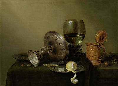 Tankard Painting - Still Life With A Gilded Beer Tankard by Willem Claesz Heda