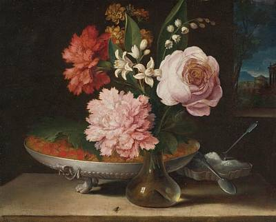 Still Life With A Glass Vase Of Flowers And A Bowl Of Strawberries Art Print