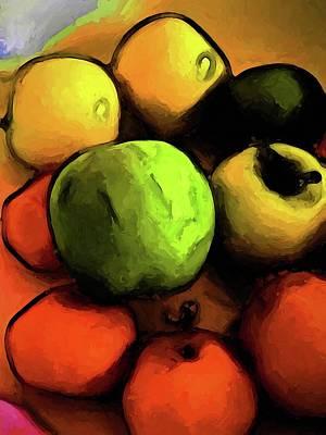 Digital Art - Still Life With A Green Apple And Orange Mandarins by Jackie VanO