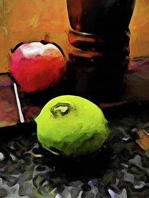 Digital Art - Still Life With A Green Lime And A Red Apple by Jackie VanO