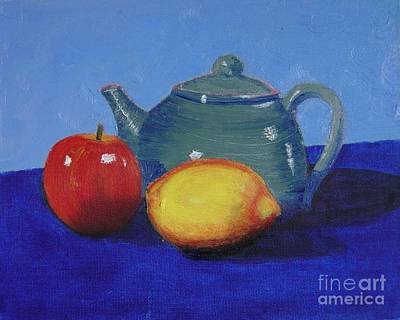 Painting - Still Life With A Green Teapot by Teresa Boston