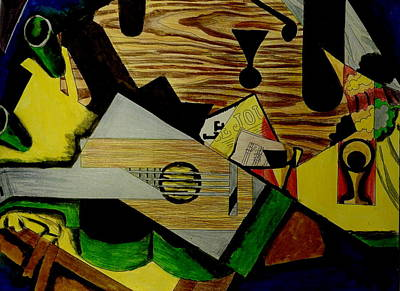 Mixed Media - Still Life With A Guitar After Juan Gris by Betty-Anne McDonald