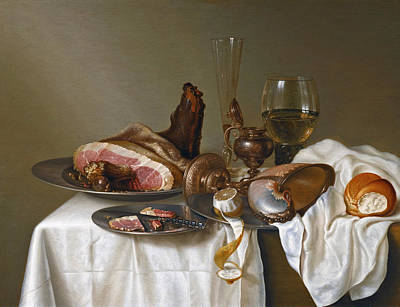 Still Life With A Ham A Glass And A Nautilus Cup On A Table Draped With A White Cloth Art Print by Maerten Boelema de Stomme