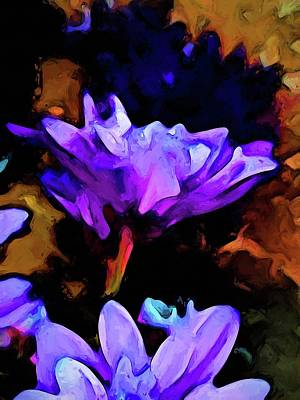 Digital Art - Still Life With A Lavender And Cobalt Blue Flower by Jackie VanO