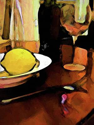 Digital Art - Still Life With A Lemon, Wine, A Glass And A Fork by Jackie VanO