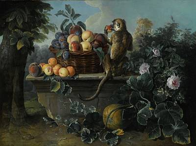 Still Life With A Monkey And A Basket Of Fruit Resting On A Ledge Art Print