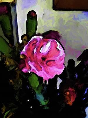Digital Art - Still Life With A Pink Flower And Burgundy Buds by Jackie VanO