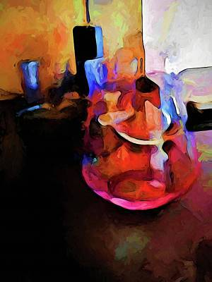 Digital Art - Still Life With A Pink Glass And A Gold Wall by Jackie VanO