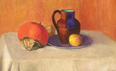 Ceramic Plate Painting - Still Life With A Pitcher by Odilon Redon